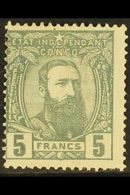 CONGO 1887-94 5f Grey, COB 12, Fine Mint, Centred To Upper Left. For More Images, Please Visit Http://www.sandafayre.com - Belgium