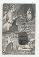 Cp, Carte à Systéme , Rajout D'une Photo , 65,LOURDES ,l'apparition , Souvenir Du Pélerinage De 1913 - Dreh- Und Zugkarten