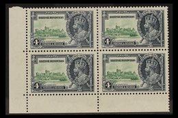 "1935 SILVER JUBILEE VARIETY 4d Green & Indigo Lower Left Corner Block Of 4 Bearing The ""EXTRA FLAGSTAFF"" Variety, SG 144 - British Honduras (...-1970)"