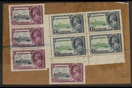 "1935 SILVER JUBILEE VARIETY A Large ""Registered"" Piece Bearing A Corner Block Of 4 X 4d Green & Indigo (SG 144) & A Vert - British Honduras (...-1970)"