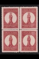 1867-70 4d Lake-red On Pale Rose, SG 15, Fine Unused No Gum BLOCK Of 4, Some Perf Reinforcement, Fresh & Attractive. (4  - British Virgin Islands