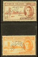 """1946 Victory Pair, Perforated """"Specimen"""", SG 122s/3s, Fine Mint. (2 Stamps) For More Images, Please Visit Http://www.san - British Virgin Islands"""