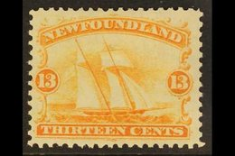 1865 13c Orange Yellow, Schooner, SG 29, Very Fine Mint. Well Centered With Full Colour. For More Images, Please Visit H - Newfoundland And Labrador
