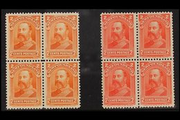 1897-98 BLOCKS OF 4 King Edward VII 2c Orange, SG 86, Fine Nhm Block Of Four, 2c Scarlet, SG 87, Fine Mint Block Of Four - Newfoundland And Labrador