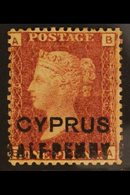 1881 ½d On 1d Red, Pl 216, Very Fine Mint. For More Images, Please Visit Http://www.sandafayre.com/itemdetails.aspx?s=64 - Cyprus