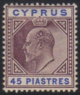 1904 45pi Dull Purple And Ultramarine SG 71, Very Fine Mint.  For More Images, Please Visit Http://www.sandafayre.com/it - Cyprus