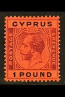 1924-28 £1 Purple And Black On Red, Watermark Multi-Crown CA, SG 102, Fine Mint. For More Images, Please Visit Http://ww - Cyprus