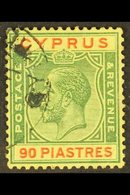 1924-28 KGV 90pi Green And Red/yellow, SG 117, Fine Used. For More Images, Please Visit Http://www.sandafayre.com/itemde - Cyprus