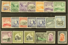 1938-51 Pictorials Complete Set Inc Both 18pi Shades, SG 151/63 & 160a, Very Fine Mint, Very Fresh. (20 Stamps) For More - Cyprus