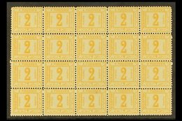 POSTAGE DUE 1888 2p Orange, Perf 11½, No Watermark, As SG D69, A Never Hinged Mint Block Of Twenty FORGERIES. (20 Forger - Unclassified