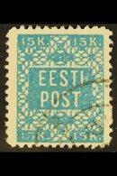 1918 15k Greenish Blue, Perf 11½, Mi 2A, Very Fine Used. For More Images, Please Visit Http://www.sandafayre.com/itemdet - Estonia