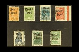 "1941 ELVA LOCAL STAMPS. 1941 ""Eesti Post"" On The 1k To 20k (no 4k) Worker Stamps, Michel 1-8, The 1k & 3k Used (Krischke - Estonia"