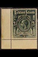 1912 3s Slate Green, Wmk MCA, Geo V, SG 66, Very Fine NHM Corner Copy. For More Images, Please Visit Http://www.sandafay - Falkland Islands
