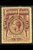 1912-20 5s Reddish Maroon, Purple Under UV-light (SG 67a, Heijtz 32a), Fine Mint, Fresh Colour, Scarce. For More Images, - Falkland Islands