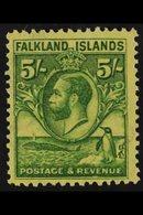 1929-37 5s Green / Yellow Penguins, SG 124, Very Fine Mint For More Images, Please Visit Http://www.sandafayre.com/itemd - Falkland Islands
