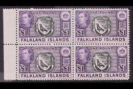 1938 £1 Black And Violet Arms, SG 163, Superb Never Hinged Mint Marginal Block Of Four. For More Images, Please Visit Ht - Falkland Islands