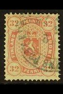 1875 32p Carmine Copenhagen Printing Perf 14x13½ (Facit 11, SG 63, Michel 11), Very Fine Used, Scarce. For More Images,  - Finlandia