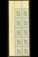 1917-30 3m Black & Pale Blue Lion (SG 210, Facit 106, Michel 91 A), Fine Mint Upper Left Corner PLATE & DATE BLOCK Of 10 - Finlandia