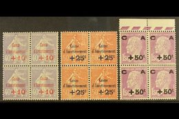 """1928 """"Caisse D'Amortissement"""" (Sinking Fund) Set (Yvert 249/51, SG 466/68) In NEVER HINGED MINT BLOCKS OF FOUR. (3 Block - France"""