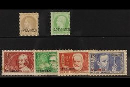 """SPECIMEN SELECTION Small Group Including 1862 5c Green, 1862 Laureated 4c Grey, 11936 Intellectuals Set All Ovptd """"Speci - France"""