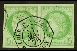 "COCHIN CHINA 1876 5c Green, Ceres, Yv 17, Superb Used Horizontal Pair With ""Corr. D. Armees 31 Mai 76 Saigon"" Octagonal  - Frankrijk (oude Kolonies En Protectoraten)"