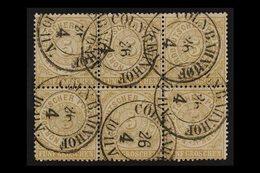 "NORTH GERMAN CONFEDERATION 1869-70 Northern District 5g Bistre (Mi 18, SG 29) BLOCK OF SIX With Fine ""COLN BAHNHOF"" Doub - Germany"