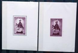 BELGIQUE BLOC FEUILLET X2 15 & 16 WINTERHULP 5 FRANCS SECOURS D'HIVER DENTELÉ + NON DENTELÉ NEUF * MH - Blocks & Sheetlets 1924-1960