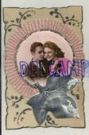 Couple. Fantaisie. Collage. Ruban, Feuille Argentée, Paillettes. 8/13 Cm - Couples