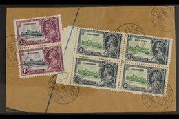 "1935 SILVER JUBILEE VARIETY A Large ""Registered"" Piece Bearing A Marginal Block Of 4 X 6d Green & Indigo (SG 115) & A Ve - Costa De Oro (...-1957)"