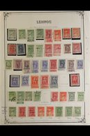 LEMNOS 1912-13 MOSTLY MINT COLLECTION Of Local Overprints On A Page, Includes 1912-13 Overprints In Black Most Values To - Sin Clasificación