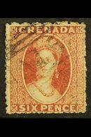 1863 6d Dull Rose Red, Wmk Sideways, SG 8, Fine Used.  For More Images, Please Visit Http://www.sandafayre.com/itemdetai - Grenada (...-1974)
