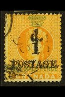 """1886 1d On 1½d Orange, Variety """"surcharge Double"""", SG 37b, Very Fine Used. RPS Cert. For More Images, Please Visit Http: - Grenada (...-1974)"""