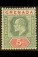 1904 5s Green And Carmine, Wmk MCA, Ed VII, SG 75, Fine Never Hinged Mint. For More Images, Please Visit Http://www.sand - Grenada (...-1974)