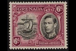 1938-50 6d Black And Purple With 'LINE ON SAIL' Variety, SG 159b, Very Fine Mint. For More Images, Please Visit Http://w - Grenada (...-1974)