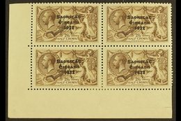 """1922 2s 6d Chocolate Brown, Corner Marginal Block Of 4, Top Right Stamp Showing The Variety """"No Accent"""", SG 64/64b, Very - Ireland"""