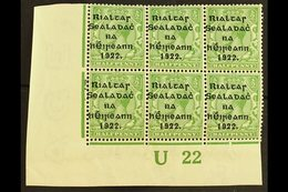 """1922 Thom Wide Setting ½d Green, Lower Left Corner """"U22"""" Plate Block Of Six, Showing Guide Blocks To Lower Left Stamp (H - Ireland"""