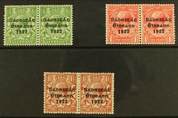 1922-23 ½d Green 1d Scarlet & 1½d Red-brown, SG 67/69, Fine Mint Horizontal PAIRS With All The Left Stamps Showing LONG  - Ireland
