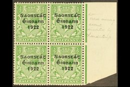 1922-23 ½d Green, Right Marginal Block Of Four, One Showing Accent Inserted By Hand, SG 52b, Very Fine Mint, The Variety - Ireland