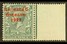 """1922-23 Free State Overprinted 4d Grey-green (SG 58) With Frame Breaks Below """"FOUR"""", Hibernian T53b, Very Fine Mint Righ - Ireland"""