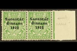 1922-23 SAORSTAT ½d Green, Right Marginal Horizontal Pair, One Showing Accent Inserted By Hand, SG 52b, Never Hinged Min - Ireland
