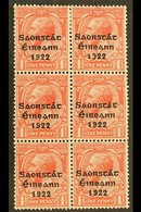 """1922-23 SAORSTAT 1d Scarlet, Vertical Block Of Six, One Showing Accent And """"at"""" Inserted, SG 53d, Hib. T48f, Fine Mint,  - Ireland"""