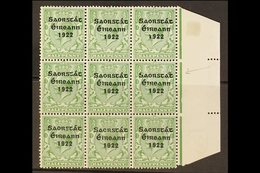 1922-23 THOM SAORSTAT RARITY ½d Green, SG 52, Right Hand Marginal Block Of Nine, Showing At 15/12 ACCENT INSERTED TWICE, - Ireland