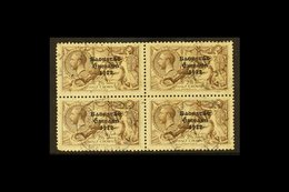 1927-28 2s.6d Chocolate Brown Seahorse, Wide Date SG 86, A Scarce Block Of Four Cds Used, Lower Left Corner Crease And R - Ireland