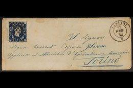 SARDINIA 1852 (17 Feb) Small Env From Sassari (on The Island Of Sardinia) To Torino Bearing 20c Blue With 4 Large Margin - Italy