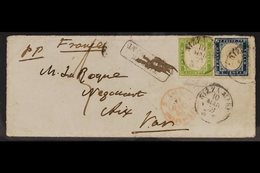 SARDINIA 1859 (10 Mar) Env From Nizza Marittima To Aix-en-Provence, France Bearing The Rare 1859 5c Yellow- Green (Sasso - Italy