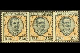 1926 2.50L Dark Green & Orange, Horizontal STRIP OF THREE, Sassone 203, Mi 243, Never Hinged Mint. For More Images, Plea - Italy