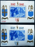 BELGIQUE BLOC FEUILLET X2 ORVAL 1942 DENTELÉ + NON DENTELÉ NEUF * MH ABBAYE BIÈRE TRAPPISTE MOINES - Blocks & Sheetlets 1924-1960