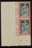 "1928 25c Carmine And Green, Filiberto, Marginal Vertical Pair, Variety ""imperf Between And At Base"", Sass 227o, Superb N - Italy"