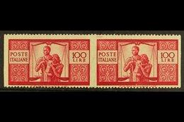 "1945 100L Bright Carmine ""The Family"", Horizontal Pair Variety ""imperf Vertically"", Sass 565ao,  Very Fine NHM. Signed O - Italy"