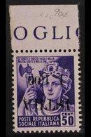 "ISTRIA (POLA) 1,50 On 50c Violet (Minerva), Variety ""overprint Inverted"", Sass 26A, Very Fine Marginal, Never Hinged Min - Italy"
